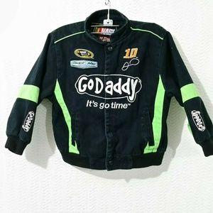 NASCAR JN DESIGN GODADDY BLACK SNAP JACKET Boys 6